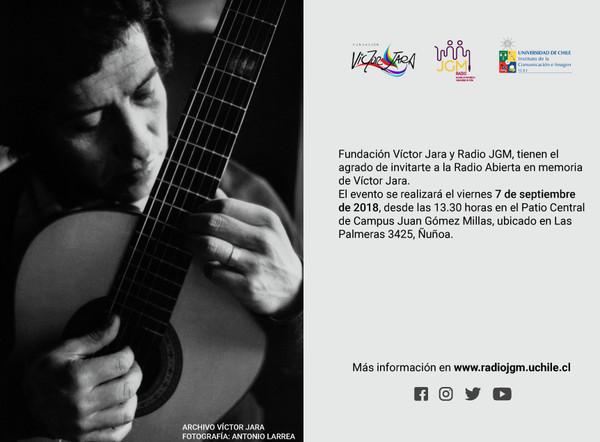 Radio JGM y Fundación que rescata su legado conmemoran el 11 de septiembre con homenaje a Victor Jara